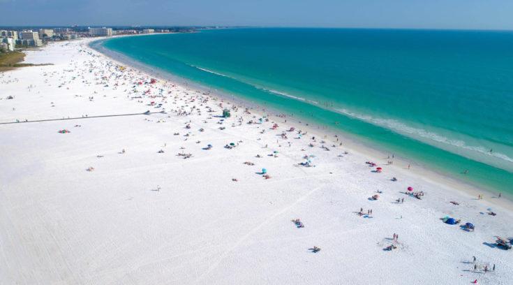 Siesta,Key,Beach,In,Sarasota,Florida,Shot,By,Aerial,Drone.
