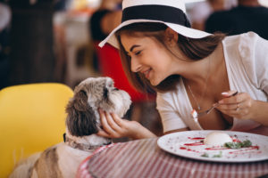 Girl and fluffy dog at a restaurant
